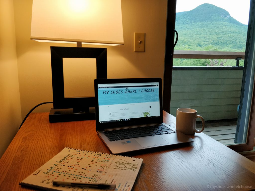 Laptop with blog, habit tracker, mountain in the background