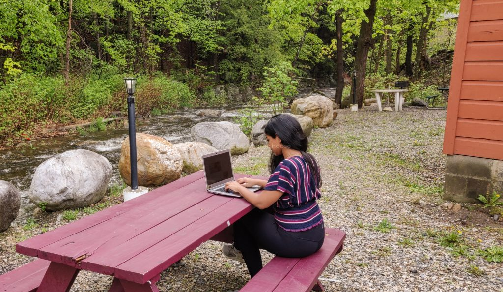 blogging and working on a laptop near a stream