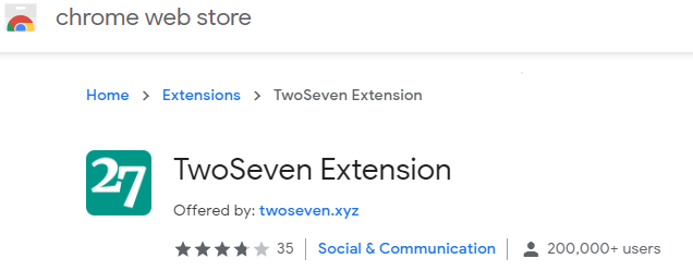 TwoSeven Chrome Extension page screenshot