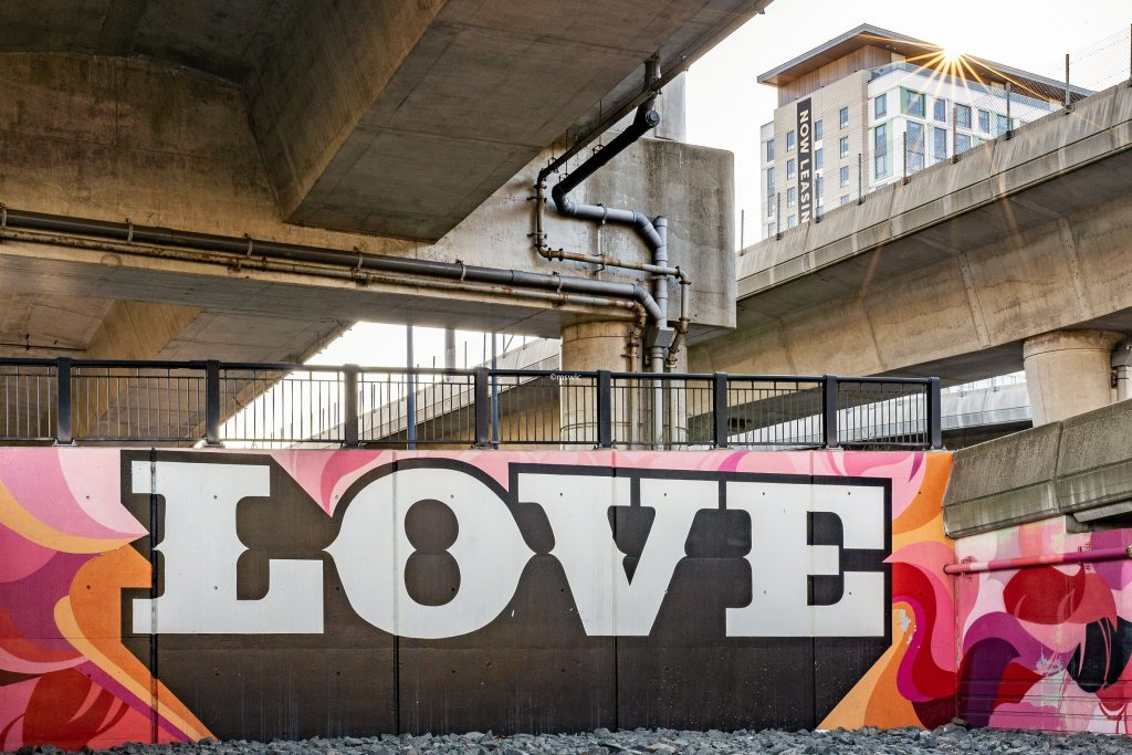 Sunstar photography at the Love mural at the Underground at Ink Block