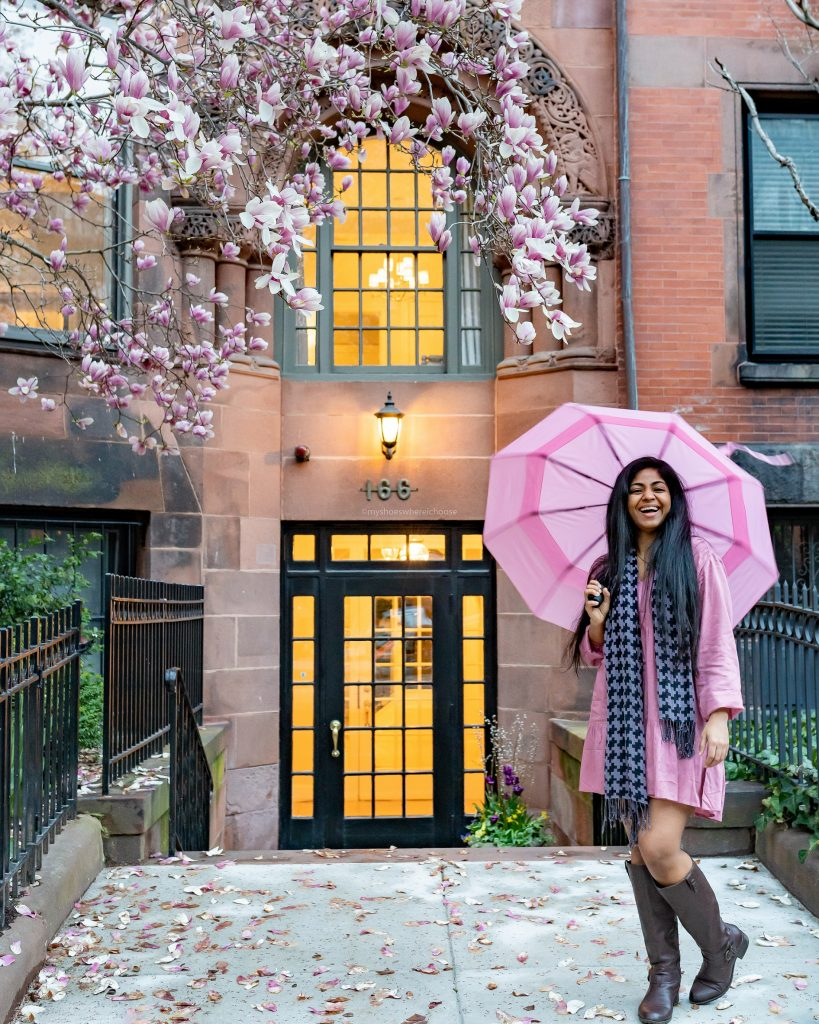 Back Bay, Boston during spring blossom photoshoot