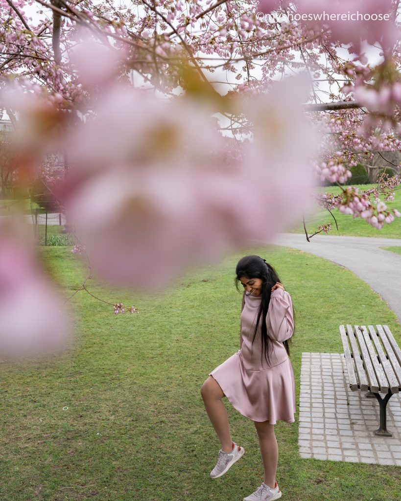 Dancing under cherry blossoms